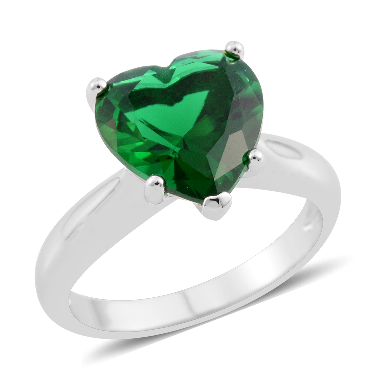 4942d77f006ab Simulated Emerald Silvertone Heart Ring (Size 5.5) TGW 5.38 cts.