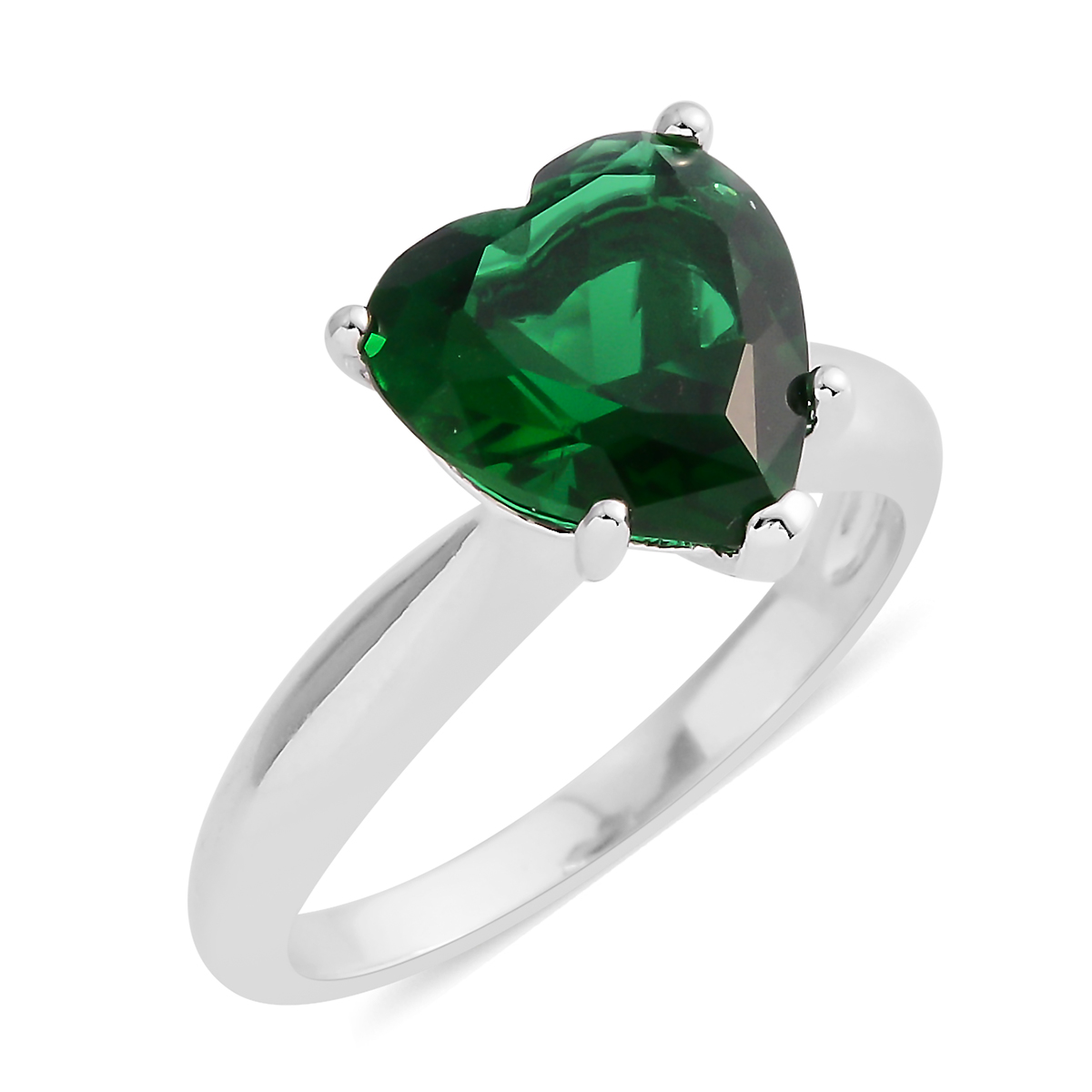 3750059ab268f Simulated Emerald Silvertone Heart Ring (Size 6.5) TGW 5.38 cts.