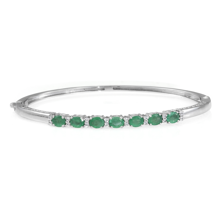 Brazilian Emerald, Cambodian Zircon Platinum Over Sterling Silver Bangle (7.25 in) TGW 2.70 cts.
