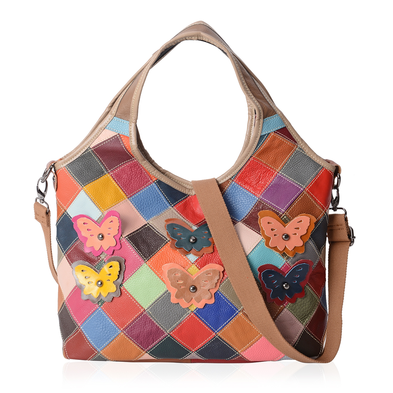 Chaos By Elsie Multi Color Checker Pattern Genuine Leather Hobo Bag (16.5x5x11 in) with Removable Shoulder Strap (50 in)