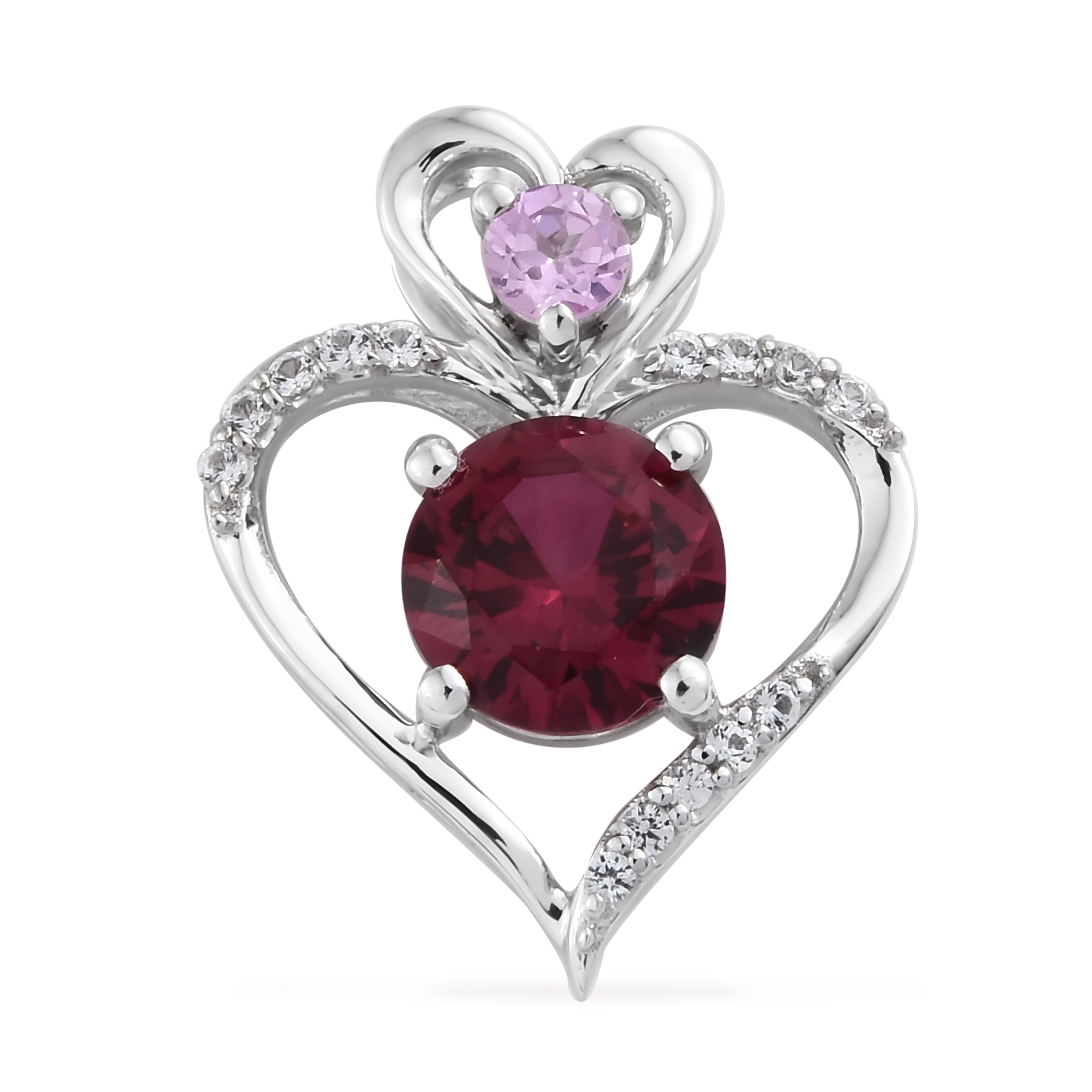 925-Sterling-Silver-Rhodium-Over-Pink-Created-Sapphire-Ruby-Pendant-Gift-Ct-6-6