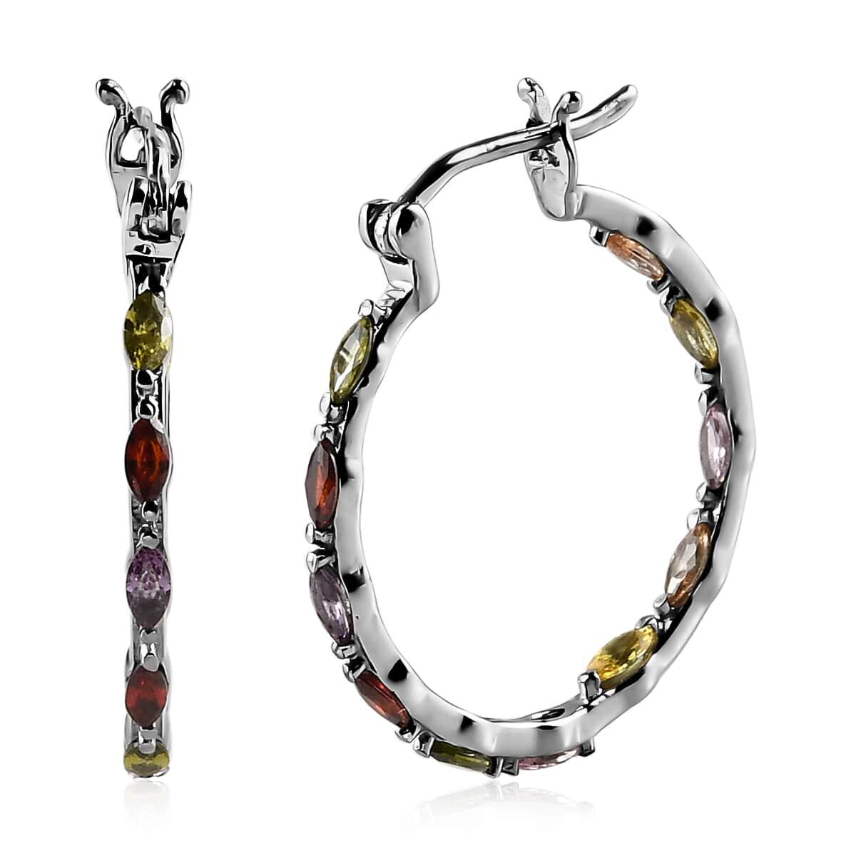 Hoops Hoop Earrings Multi Color Cubic Zirconia CZ Steel Insi