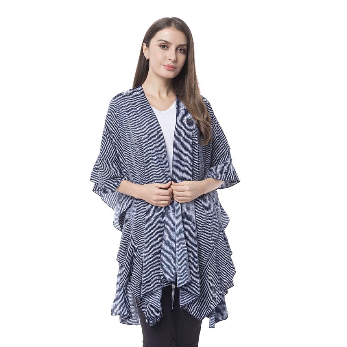 57f495ba2 Navy 100% Polyester White Stripe Ruffled Kimono (One Size)