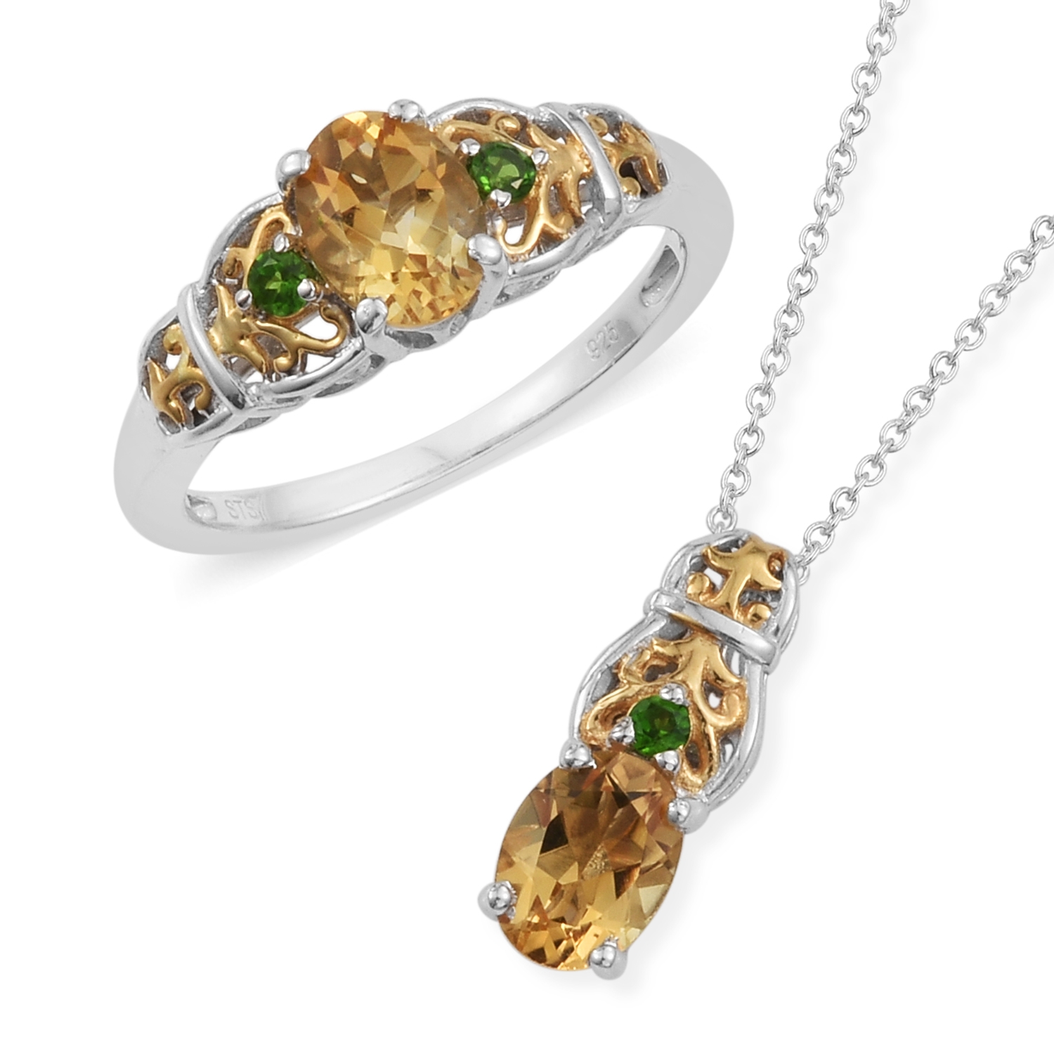 Brazilian Citrine, Russian Diopside 14K YG and Platinum Over Sterling Silver Ring (Size 8) and Pendant With Chain (20 in) TGW 2.60 cts.