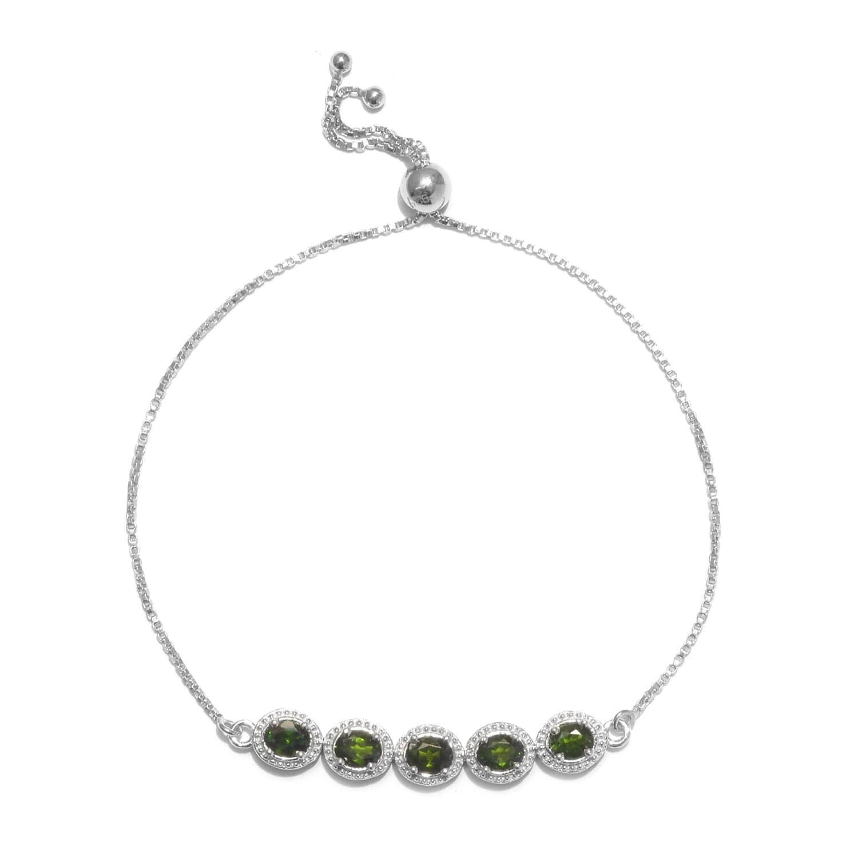 4ecdad2e3b5 Ankur's Treasure Chest Russian Diopside Bolo Bracelet in Platinum Over Sterling  Silver 1.92 ...