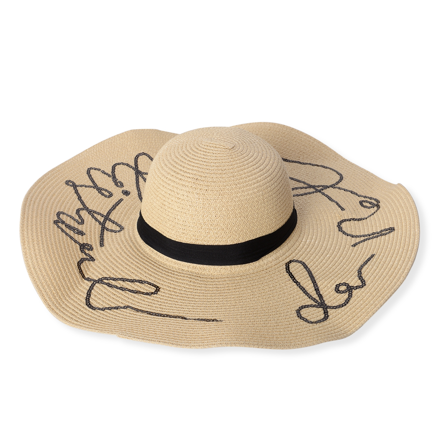 34988e3d10d17 Off White 100% Straw Paper Embroidered Out of Office Sun Hat