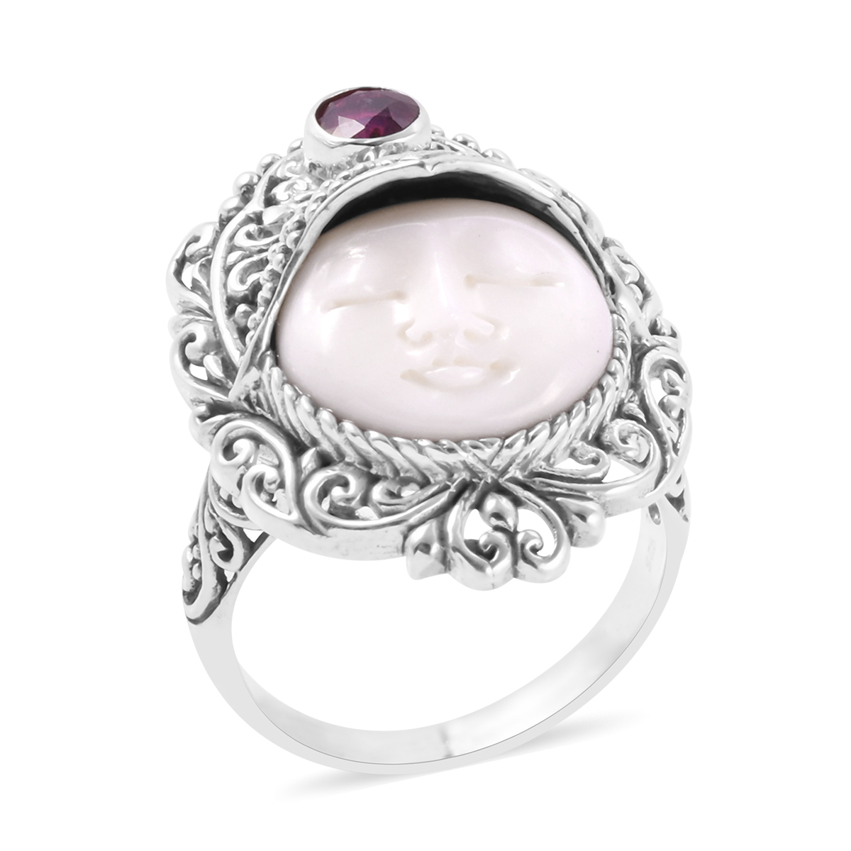 Bali Goddess Collection Carved Bone African Ruby Sterling Silver Ring Size 6 0 Tgw 0 73 Cts Shop Lc