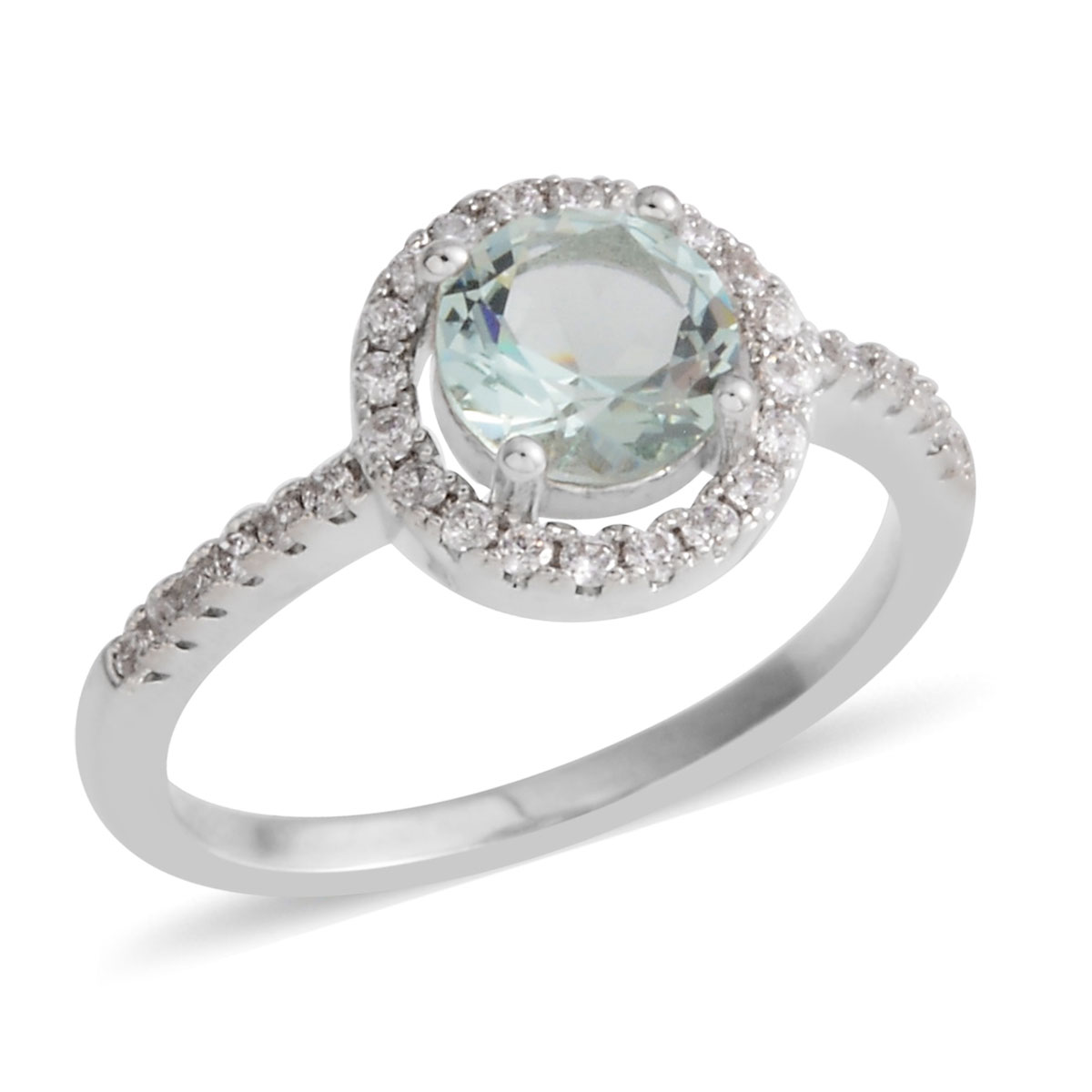 Simulated Green Diamond, Simulated White Diamond Ring in Silvertone (Size 6.5) 0.91 ctw