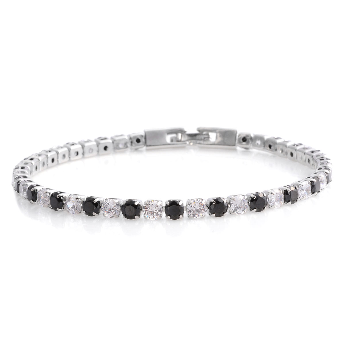 Simulated Black And White Diamond Tennis Bracelet In Silvertone 8 00 7 92 Ctw