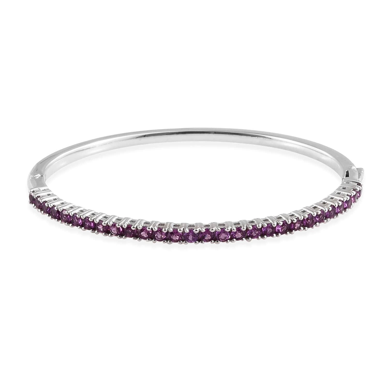 Purple Garnet Bangle Bracelet in Platinum Over Sterling Silver (7.25 in) 4.30 ctw