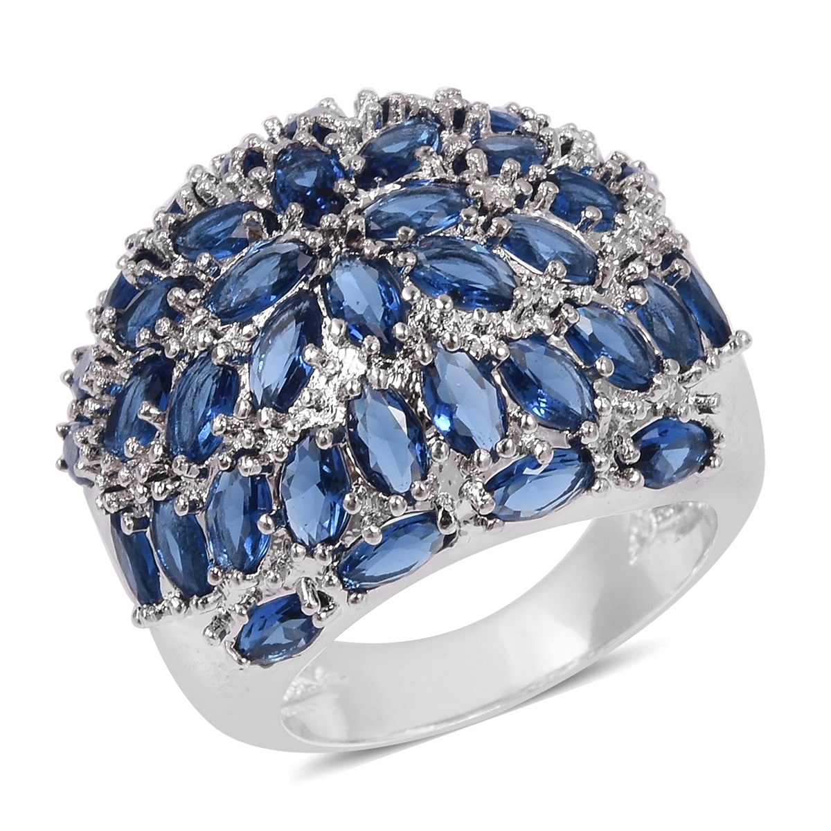 Simulated Blue Sapphire Silvertone Cluster Dome Ring (Size 8.0)