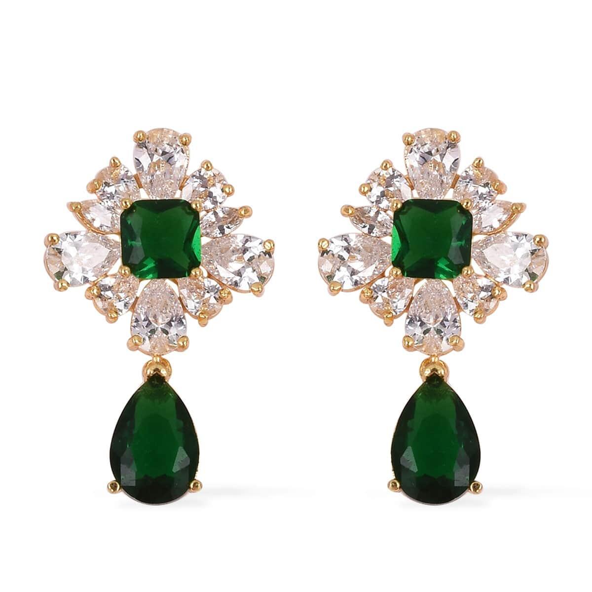 Simulated Emerald, White CZ Goldtone Dangle Earrings 3.30 ctw