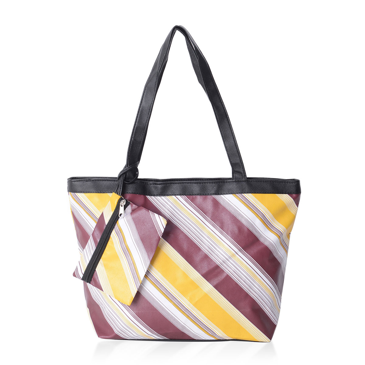 0e32a20aed4 Yellow and Marsala Striped Pattern Satin Black Trimmed Tote Bag  (15.5x4.5x10 in) with Matching Removable Coin Pouch (6x4.5 in) | Shop LC