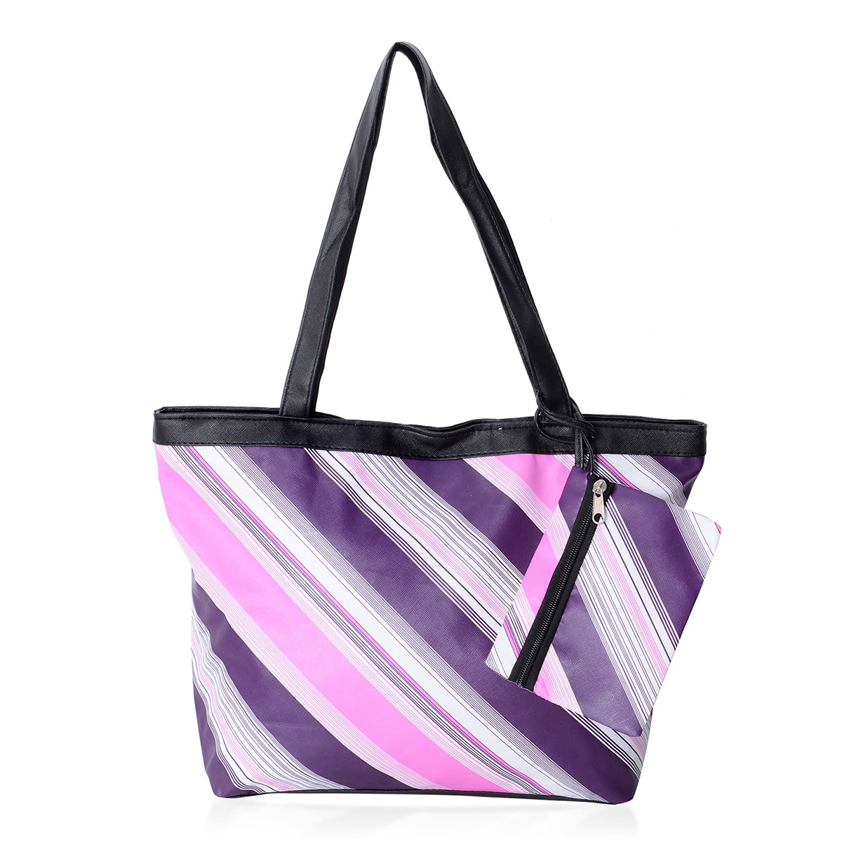 08e98edaae1 Purple and Pink Striped Pattern Satin Black Trimmed Tote Bag (15.5x4.5x10  in) with Matching Removable Coin Pouch (6x4.5 in) | Shop LC
