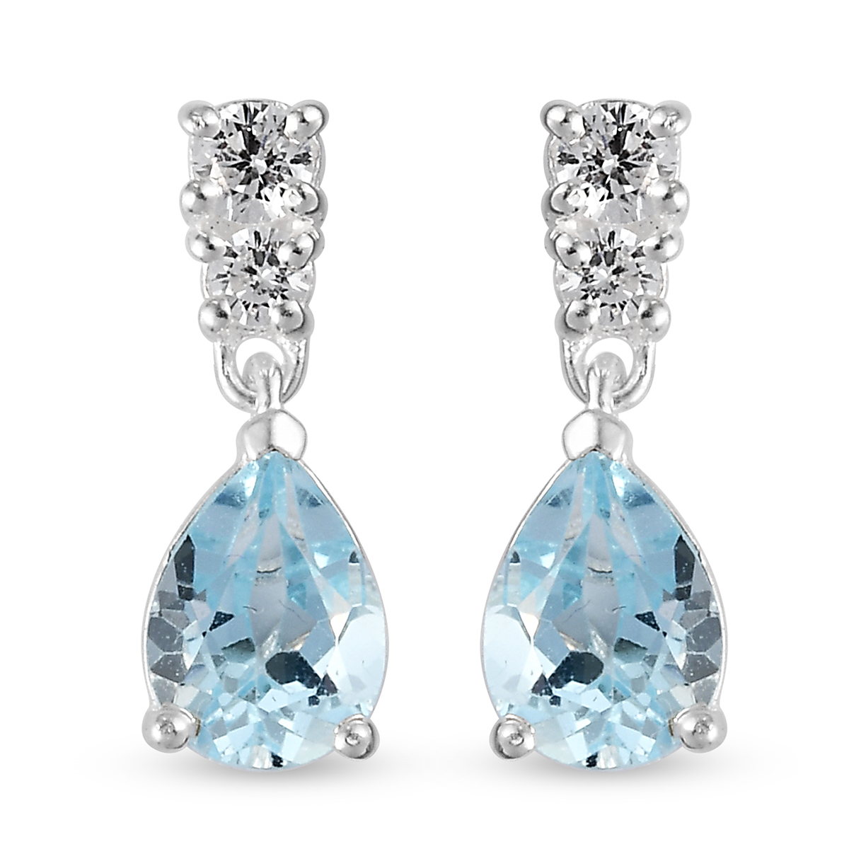 9433a1c6a Details about CZ Dangle Drop Earrings for Women Pear Topaz Cubic Zirconia  925 Sterling Silver