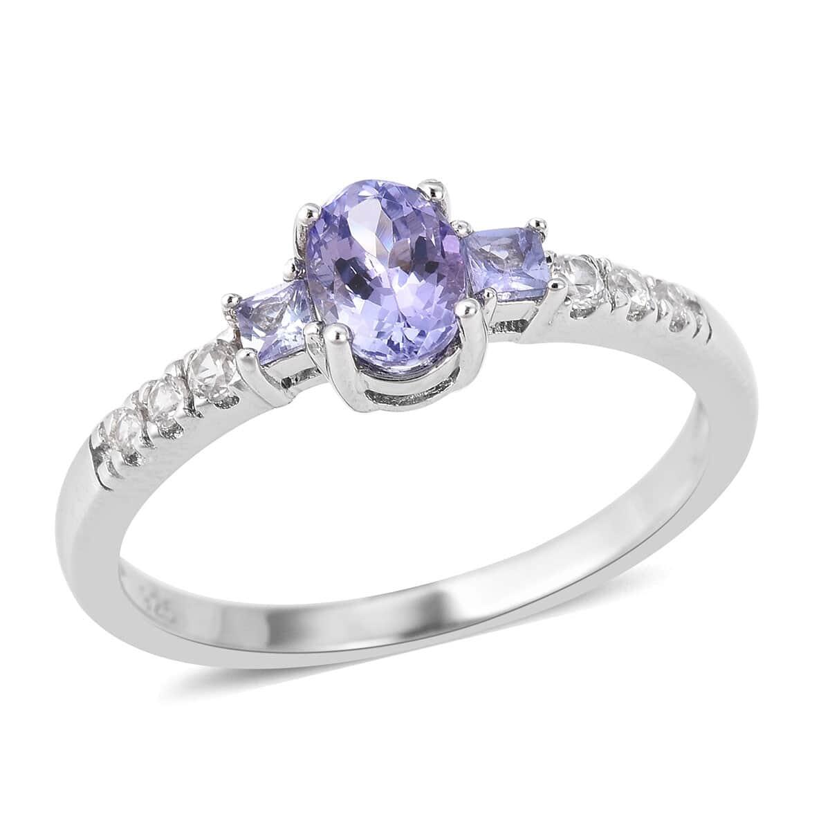 0.75cts Genuine Tanzanite /& Cubic Zirconia 925 Silver Ring Jewelry s.6 TZR1063-6
