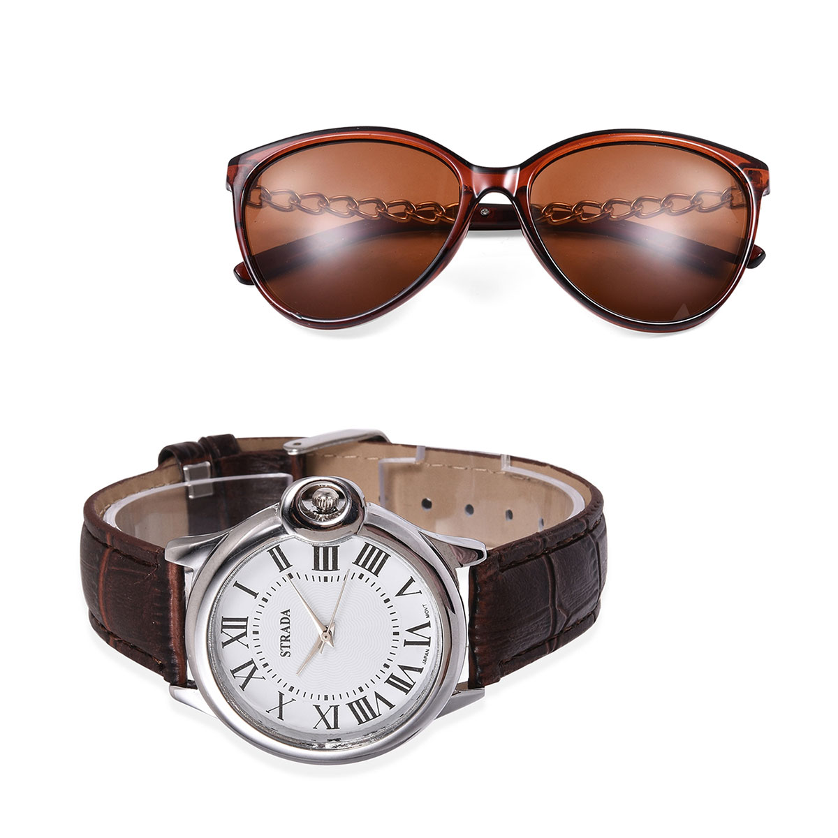 STRADA Japanese Movement Water Resistant Stainless Steel Back Roman Numberal Watch with Brown Faux Leather Band and Matching UV400 Women Wayfarer Style Sunglasses with Linked Temple