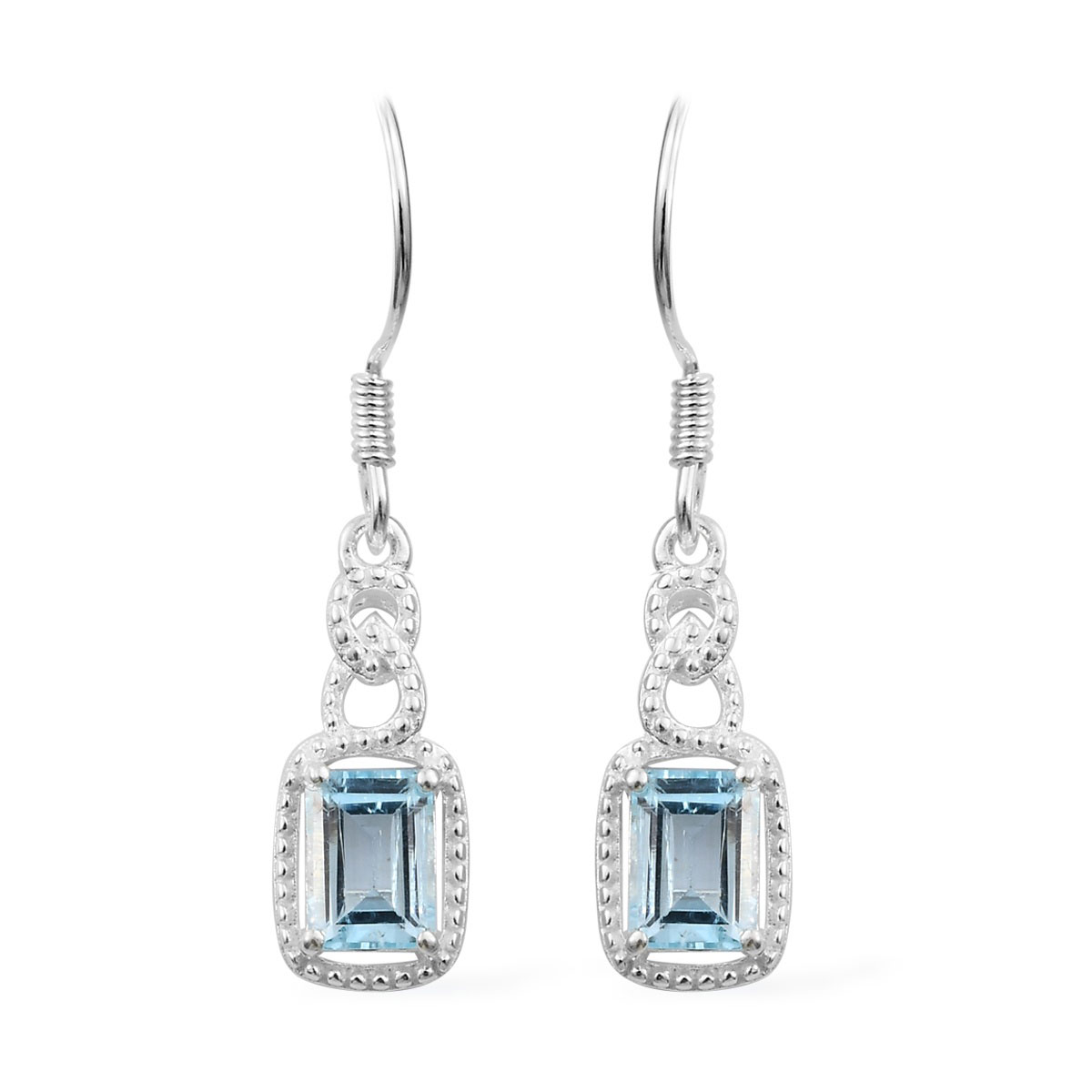 Sky Blue Topaz Dangle Earrings in Sterling Silver 2 10 ctw