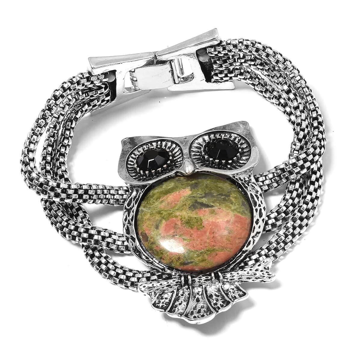 Unakite Black Austrian Crystal Owl Bracelet In Oxidized Silvertone 8 25 107 00 Ctw
