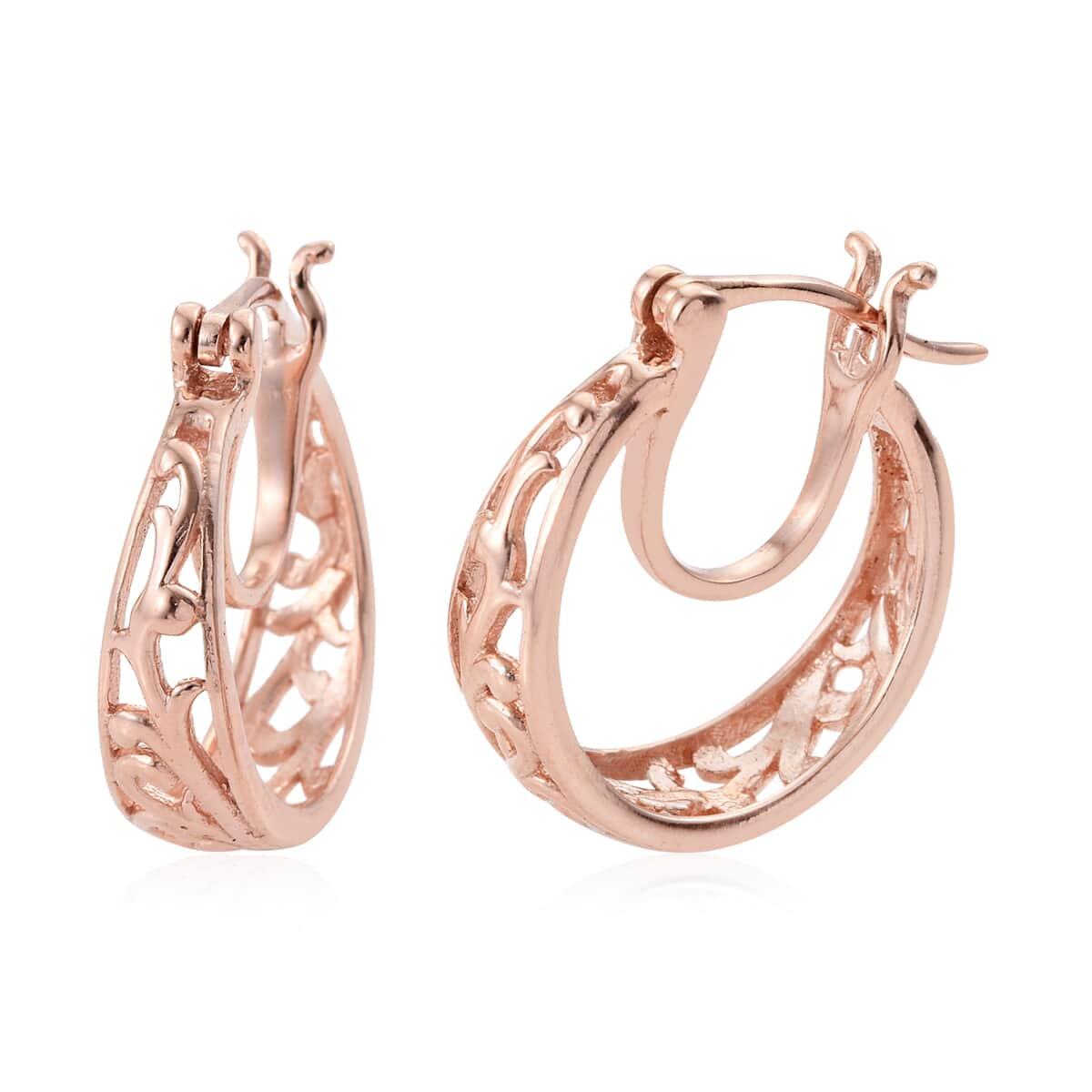 ca845b65ca9aa 14K RG Over Sterling Silver Openwork Hoop Earrings (3.74 g) | Hoop ...