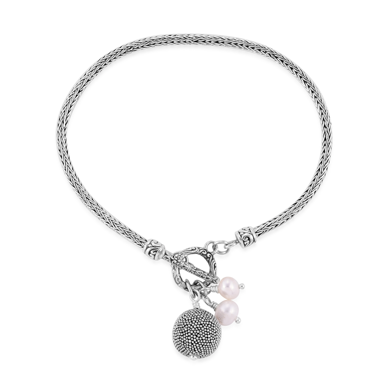 7898b4fd992efa Bali Legacy Collection Freshwater Pearl Sterling Silver Toggle Clasp  Bracelet (7.00 In) | Shop LC