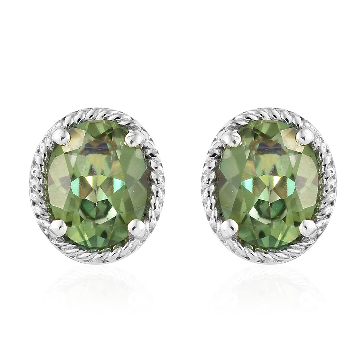 Vivid Posey MYST Platinum Over Sterling Silver Earrings TGW 4.65 cts.