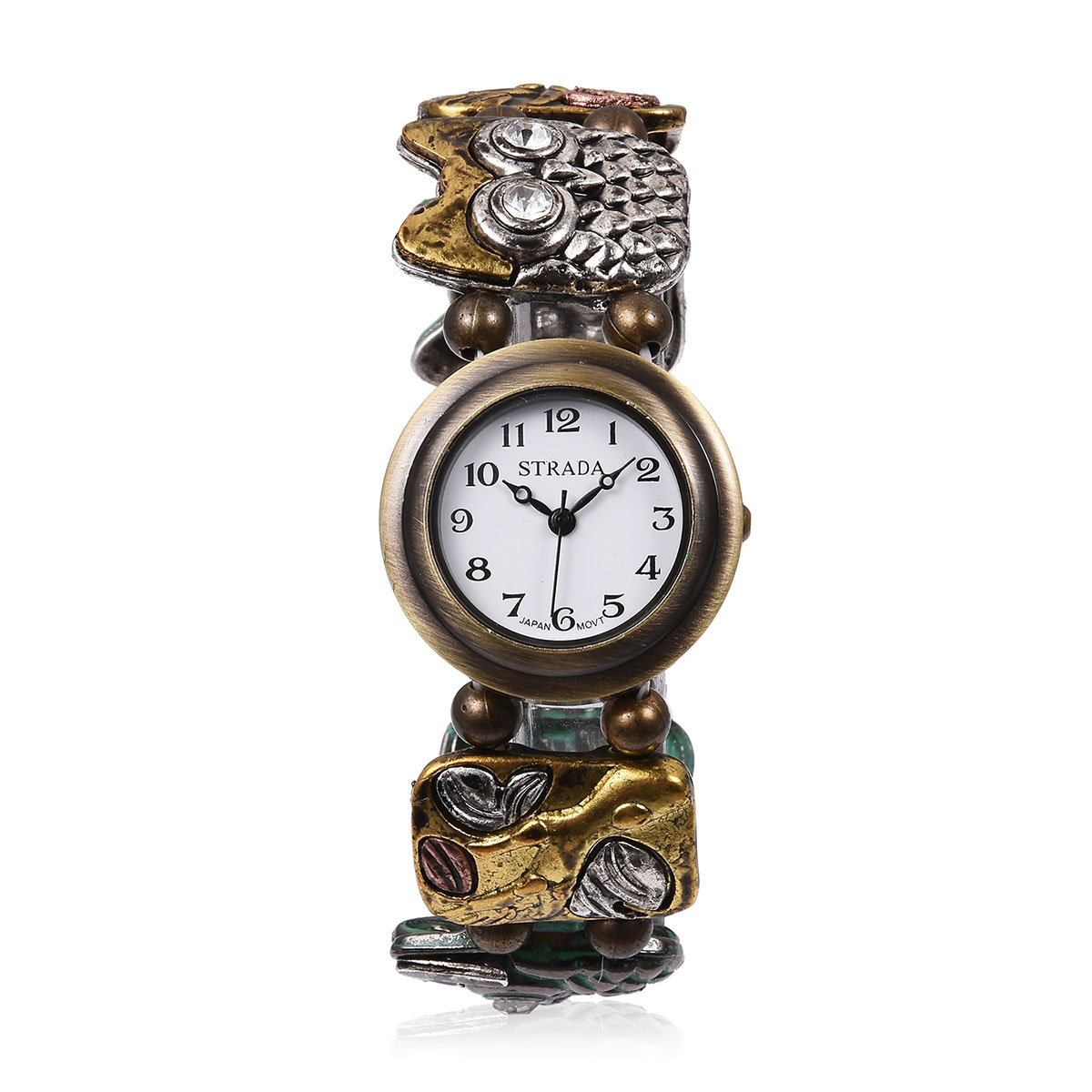 7755ba9c6 STRADA Austrian Crystal Japanese Movement Water Resistant Enameled Bracelet  Watch (Stretchable) in Multitone and Stainless Steel Back