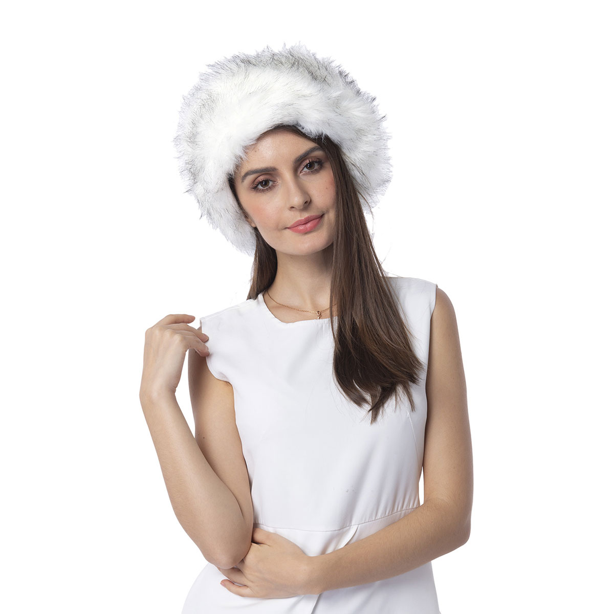43dbafd91ea11 White 100% Polyester Faux Fur Hat (9 in) | Shop LC