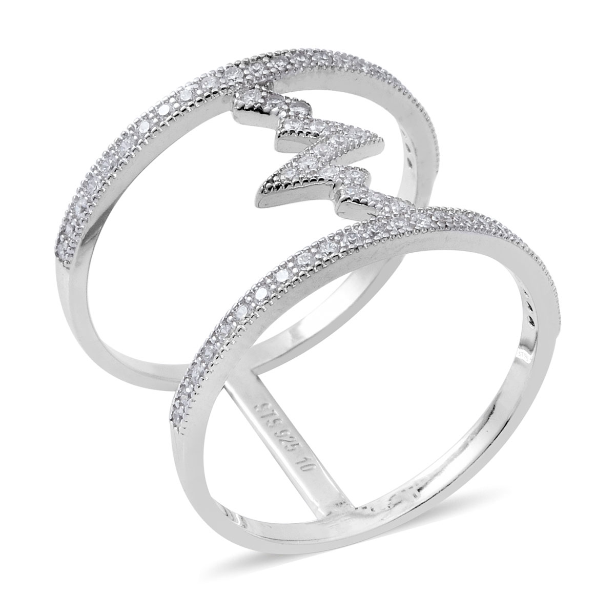 White CZ Ring in Sterling Silver (Size 5.0) 0.59 ctw