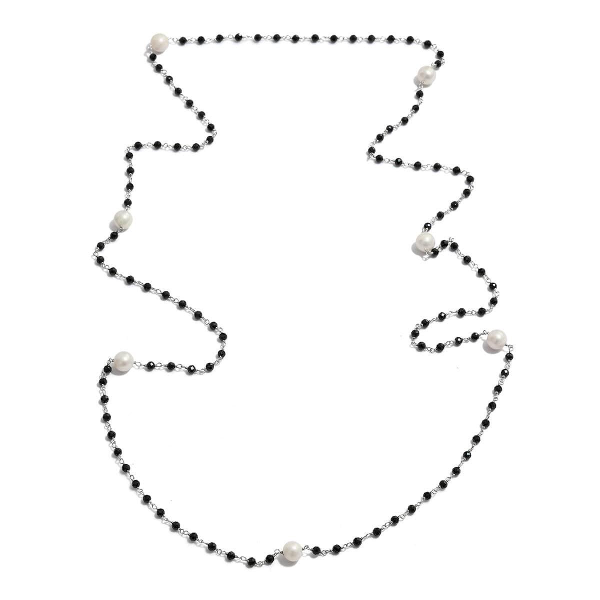 1a211d83d61af Freshwater Pearl, Thai Black Spinel Station Necklace (36 in) in Platinum  Over Sterling Silver 20.00 ctw