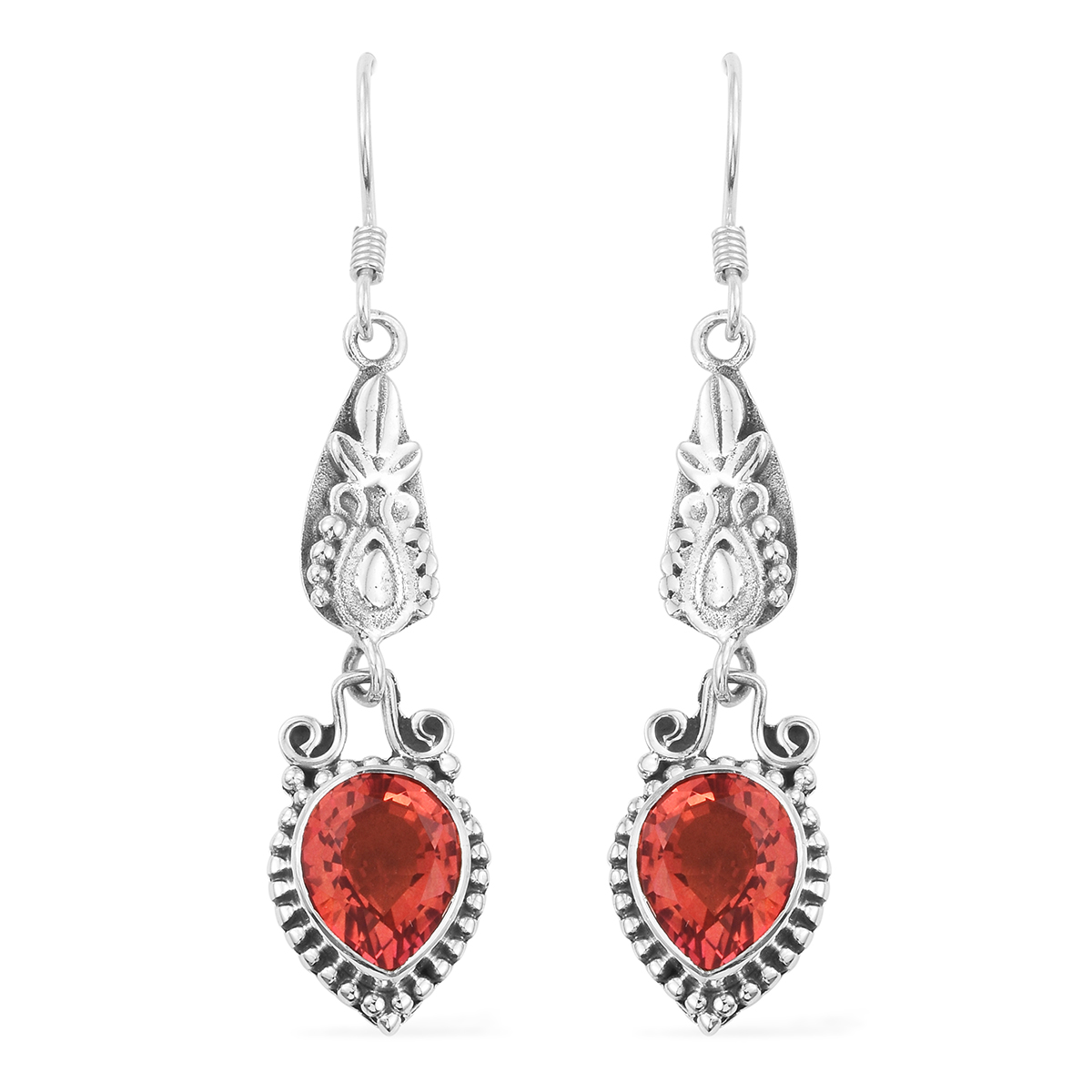 ec207032f Artisan Crafted Padparadscha Color Quartz Sterling Silver Heart Dangle  Earrings TGW 7.72 cts. | Shop LC