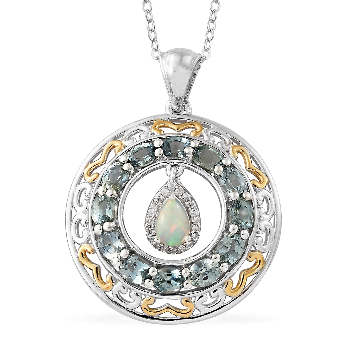 Ethiopian Welo Opal, Montana Green Sapphire, Cambodian Zircon Vermeil YG &  Platinum Over Sterling Silver Pendant With Chain (20 in) 3 13 ctw