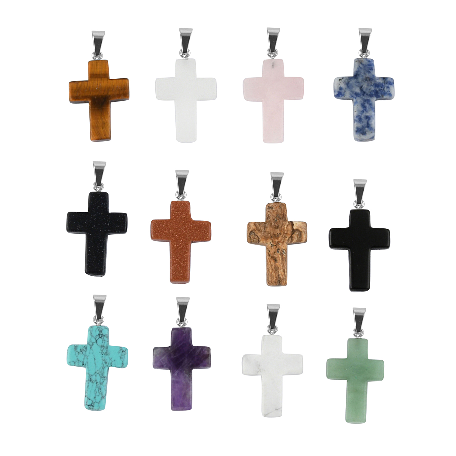 Top 10 Jewelry Gift Stainless Steel Polished Black CZs Cross Necklace Pendants Jewelry