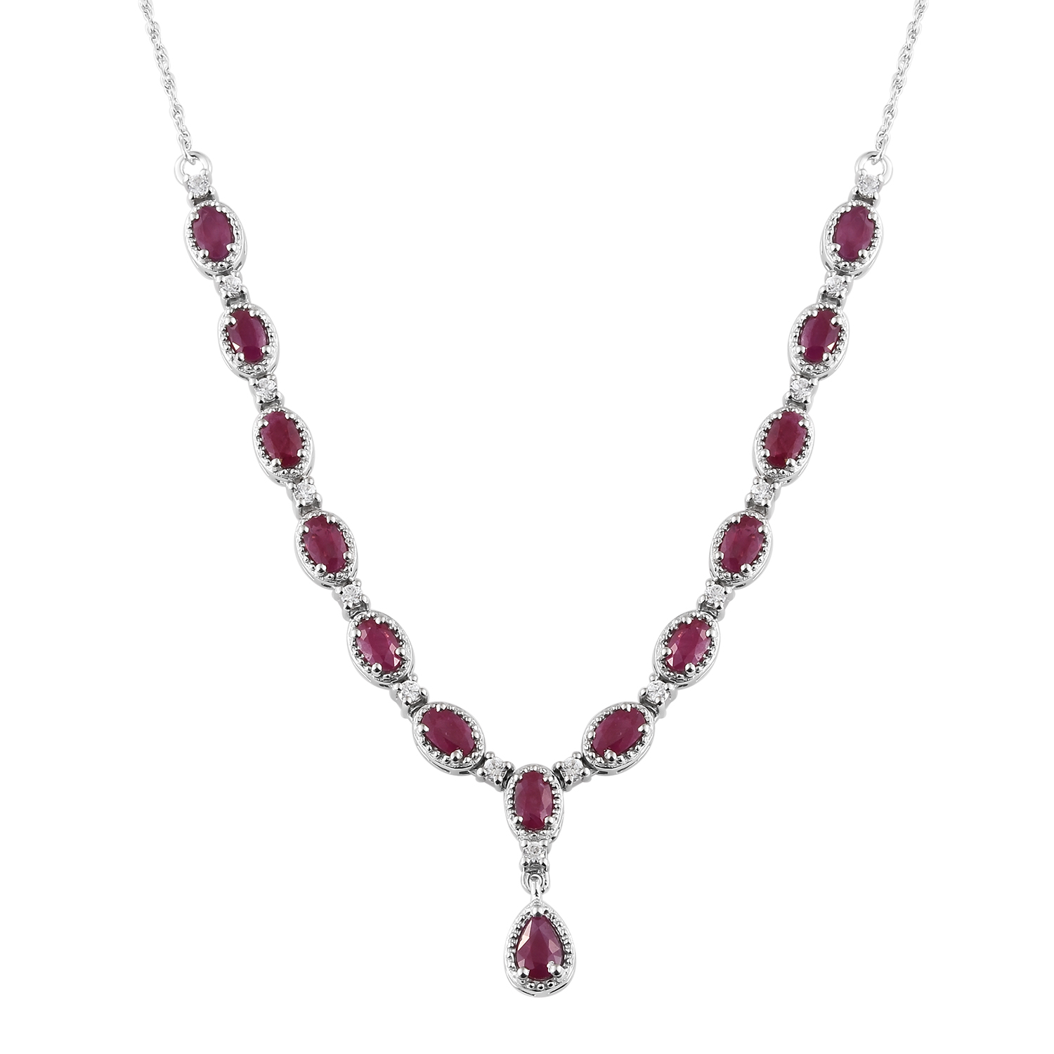 Burmese Ruby, Cambodian Zircon Platinum Over Sterling Silver Princess  Necklace (18-20 in) TGW 5 22 cts