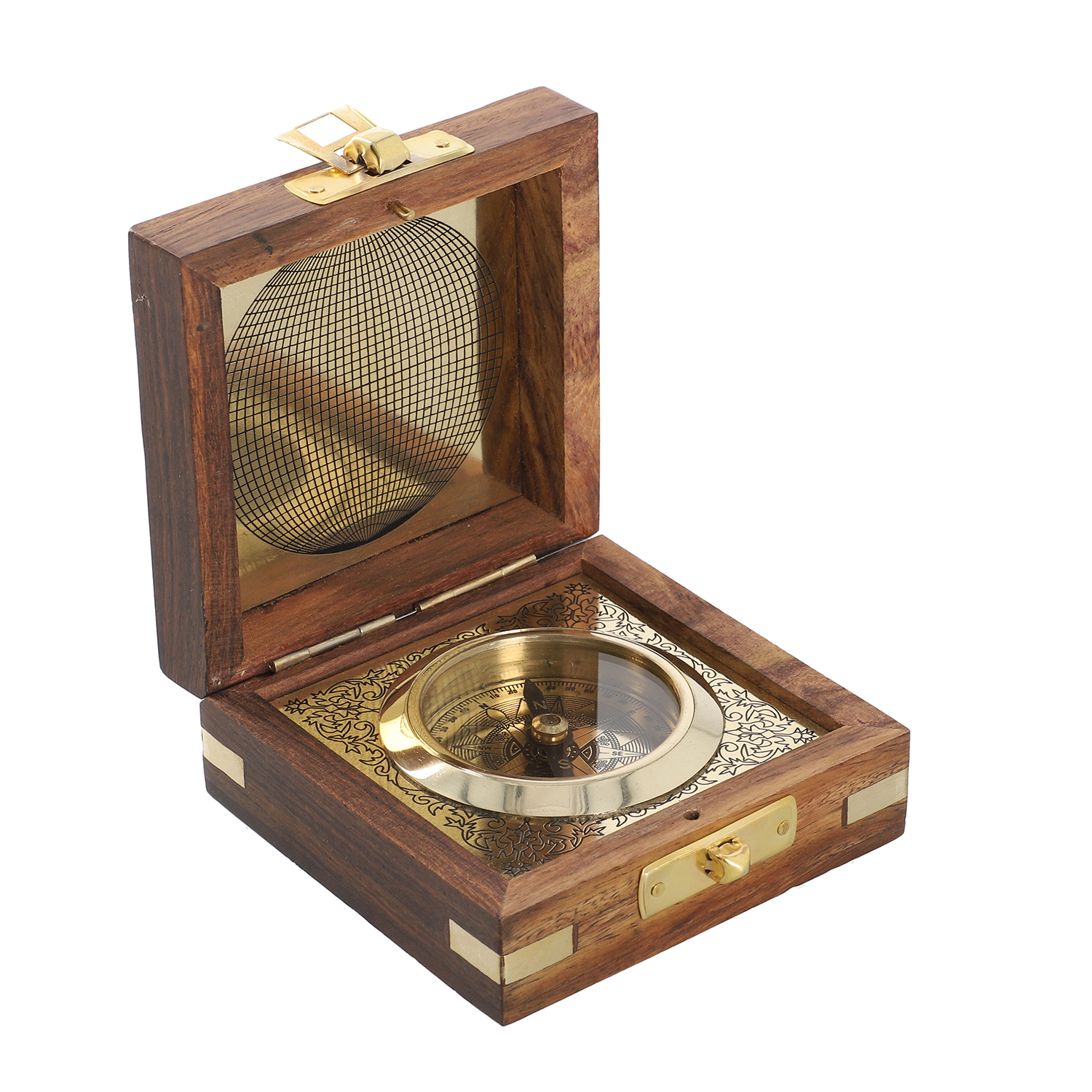 Maritime Maritime Compasses Handcrafted Wooden Box W/built In Goldtone Compass Attractive And Durable