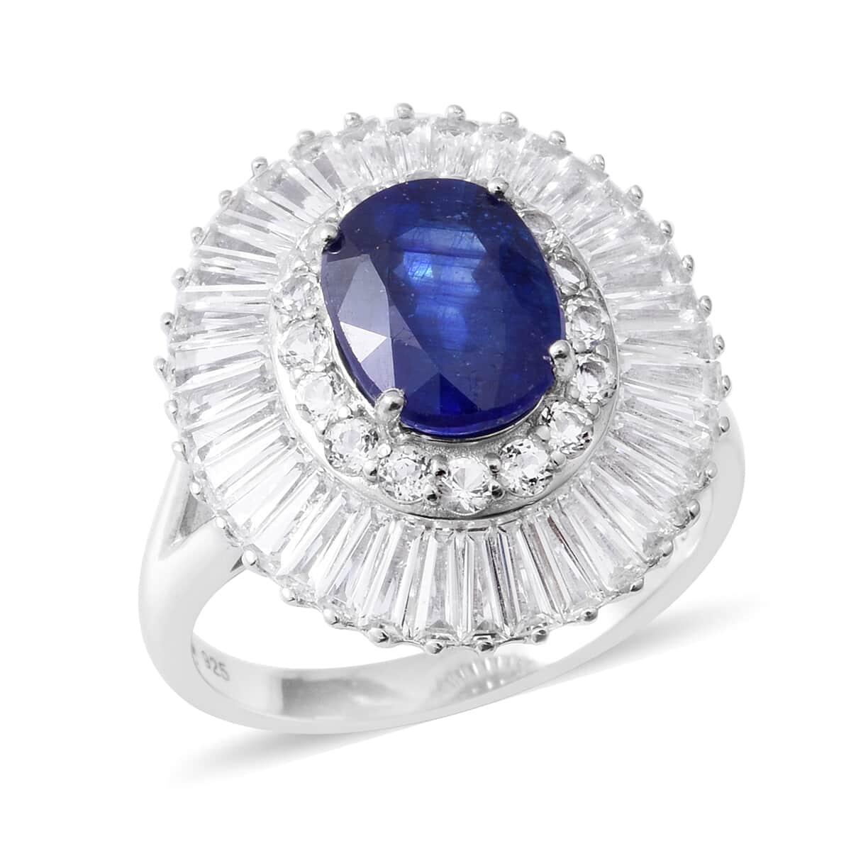 Masoala Sapphire, White Topaz Platinum Over Sterling Silver Split Cocktail Ring (Size 8.0) TGW 9.79 cts.