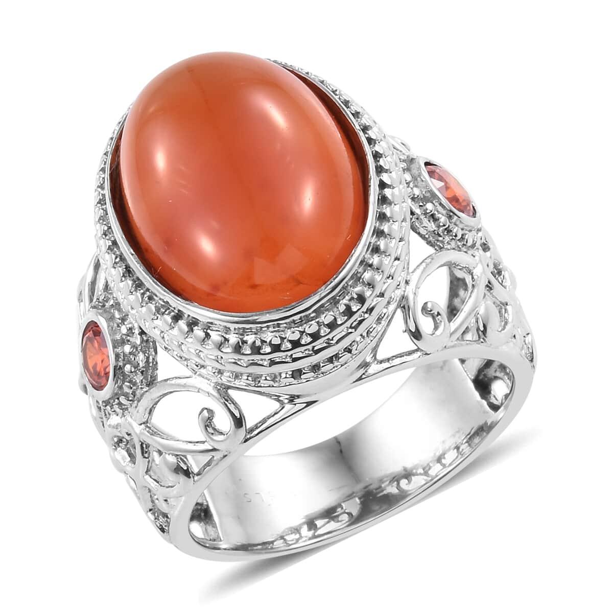 Carnelian, Orange CZ Stainless Steel Ring (Size 7 0) 12 46 ctw