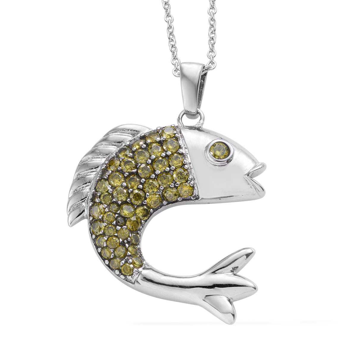 Green CZ Stainless Steel Fish Pendant With Chain (20 in) 4 36 ctw