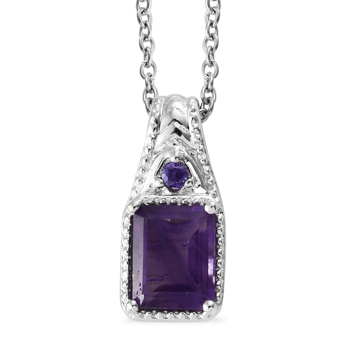 67d1698240dac KARIS - Amethyst, Purple CZ Pendant Necklace (20 in) in Platinum Bond Brass  and Stainless Steel 2.35 ctw