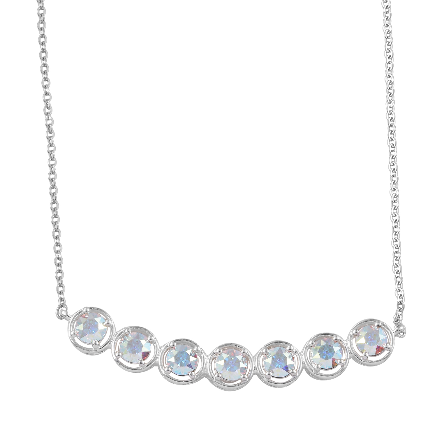 90e9f75ce Sterling Silver Necklace (18-20 in) Made with SWAROVSKI Aurora Borealis  Crystal