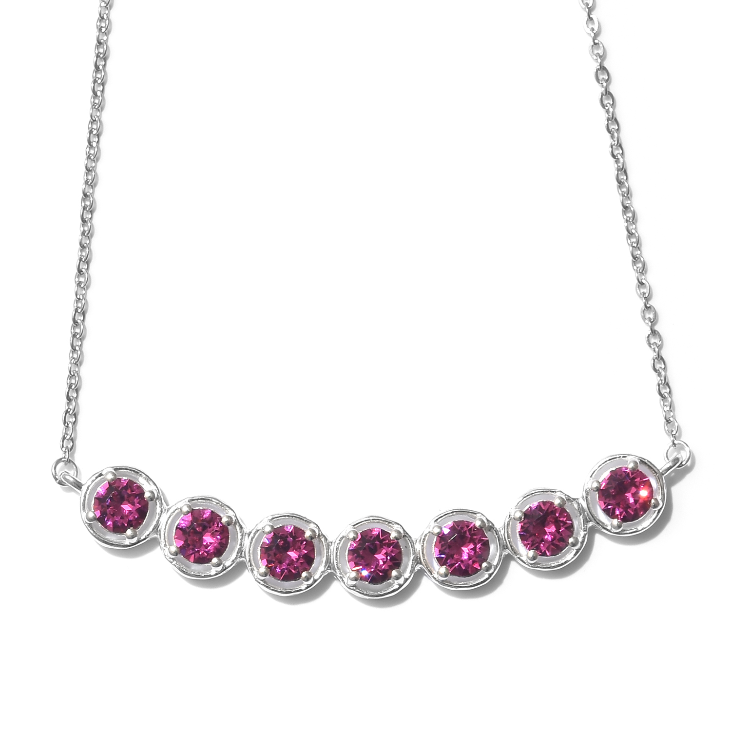 531b83183 Sterling Silver Necklace (18-20 in) Made with SWAROVSKI Fuchsia Crystal |  Shop LC