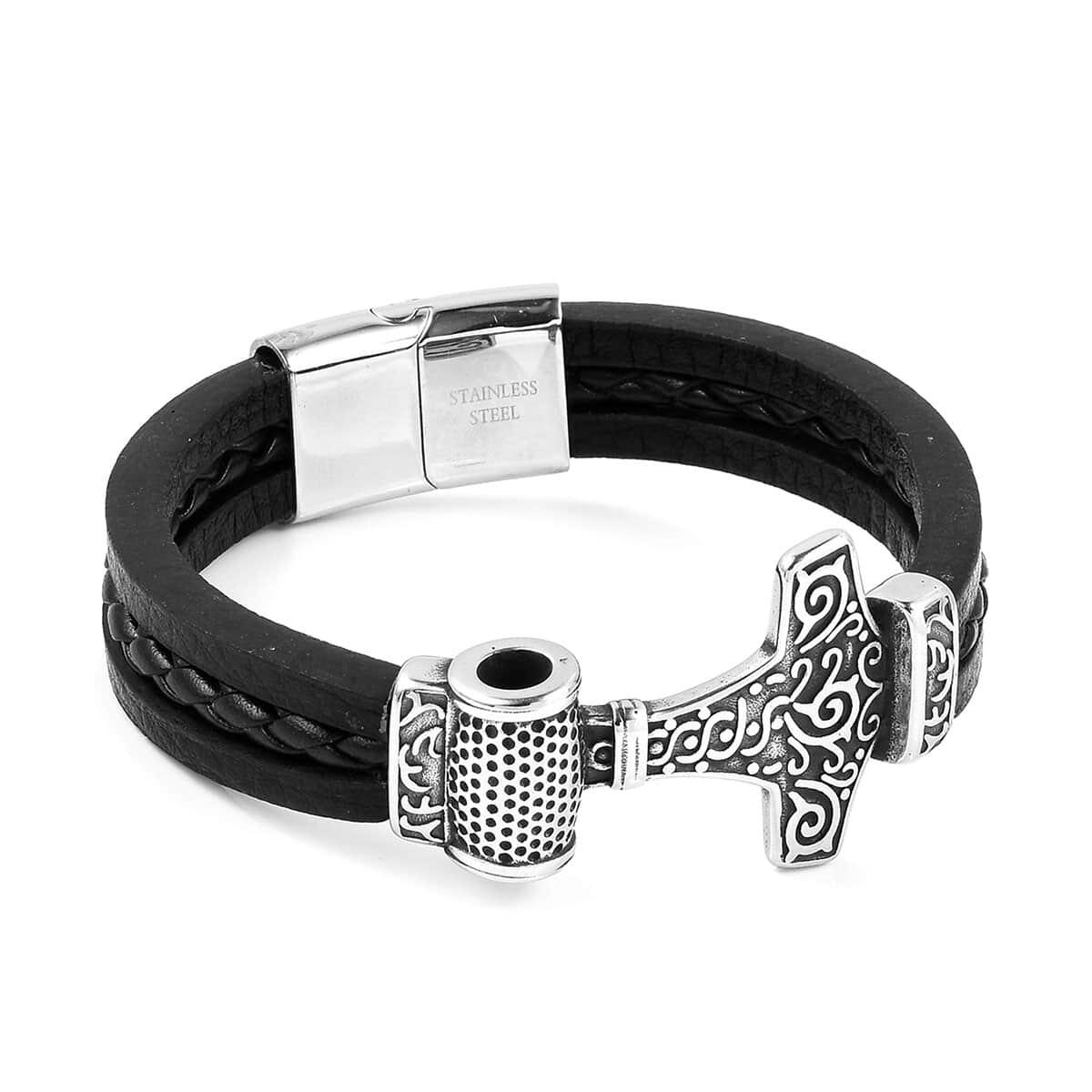 17b8f5eefb5 Black Triple Strand Oxidized Microfiber Leather, Stainless Steel Anchor  Bracelet (8.50 In)