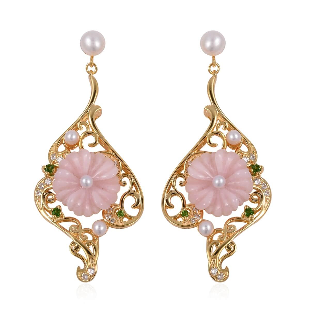 Peruvian Pink Opal, Multi Gemstone 14K YG Over Sterling Silver Flower  Dangle Earrings TGW 10 87 cts