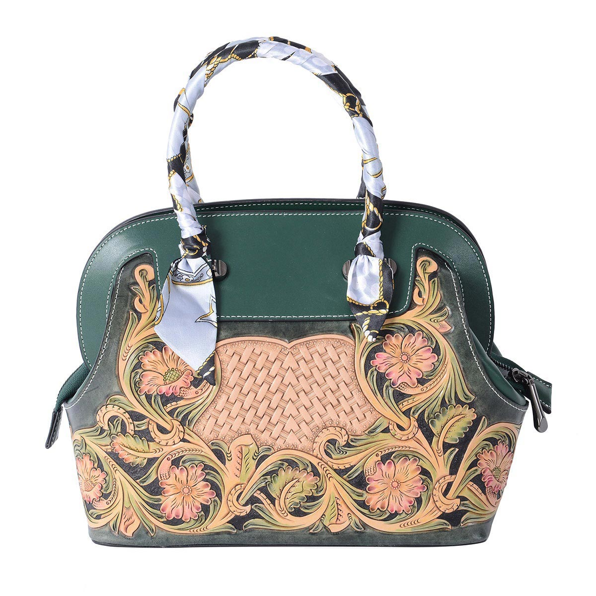 3acd83f179e22 Luxury - Green 3D Engraved Flower Pattern Genuine Leather Tote Bag (12x6x9  in)