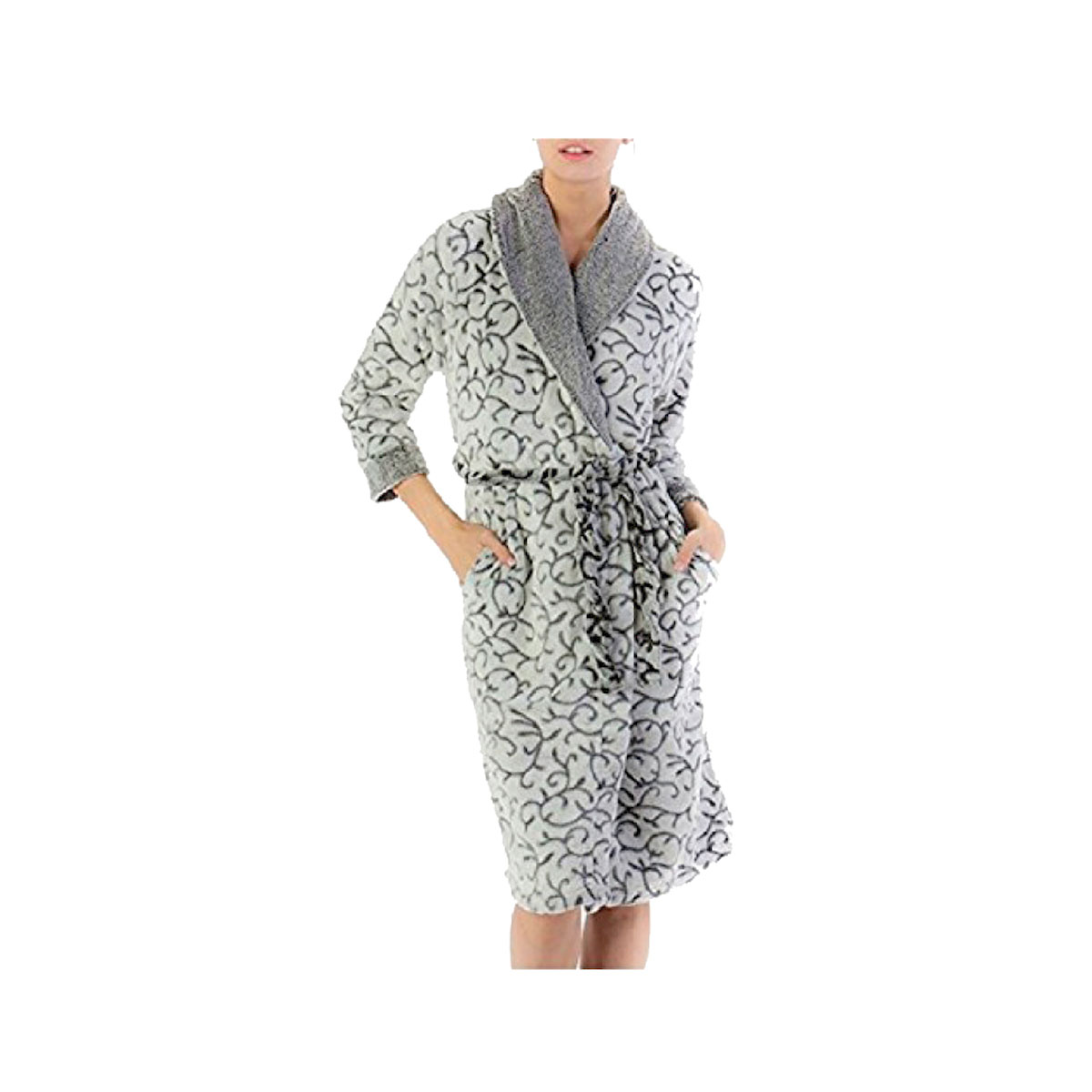 AMANDA PAIGE SLEEPWEAR 100% Polyester Gray Scroll Printed Robe (L)