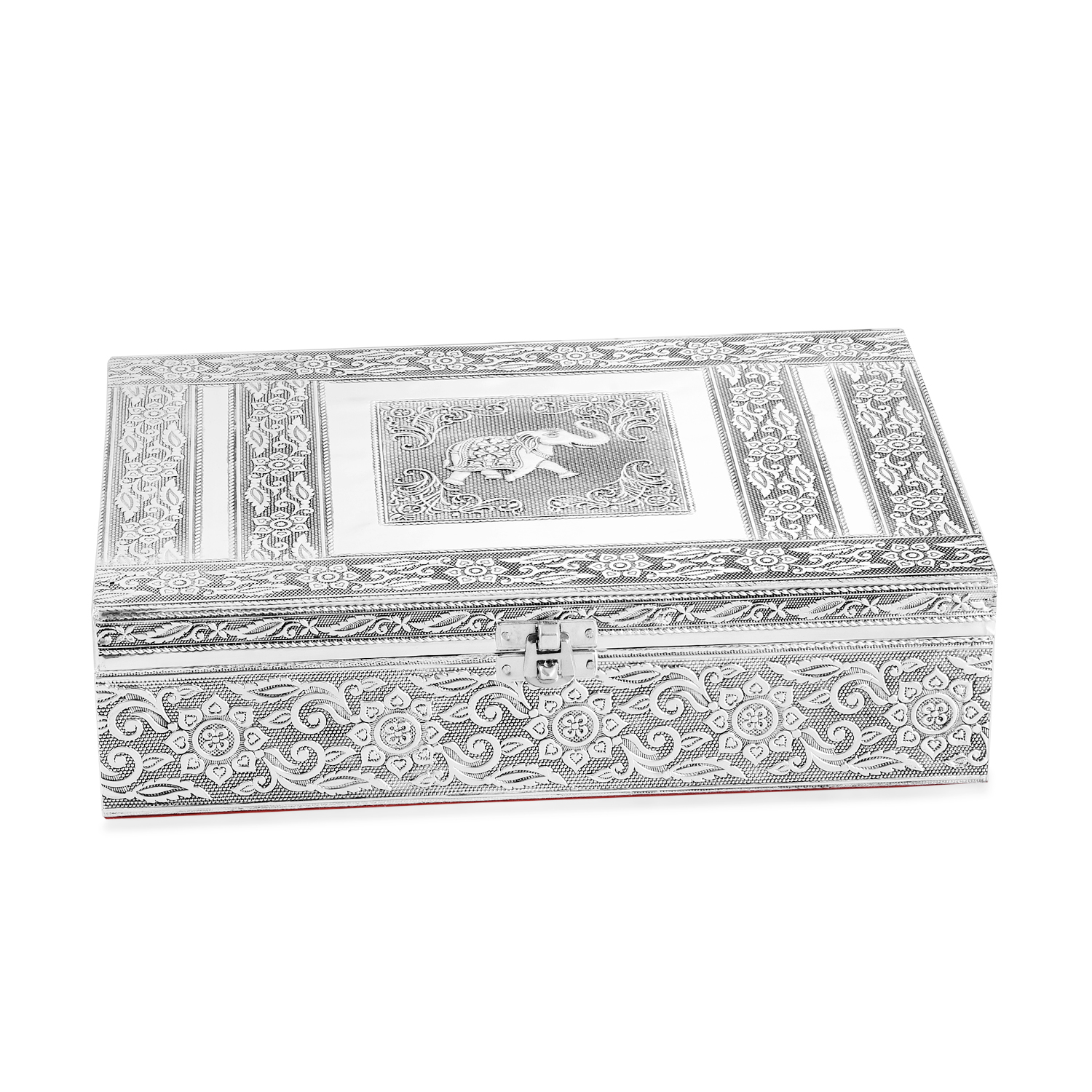 Handcrafted Aluminium Elephant Embossed 2 Tier Jewelry Box (11x3x8 in) with  Scratch Protection Interior