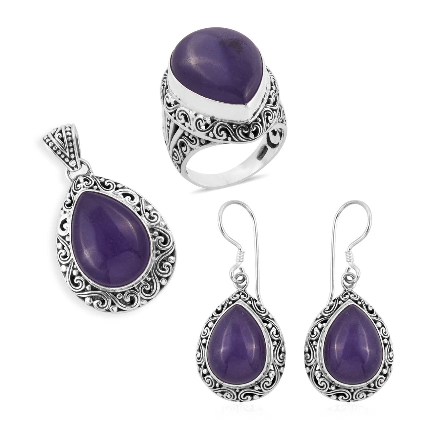 Bali Legacy Collection Burmese Lavender Jade Sterling Silver Earrings Ring Size 10 And Pendant Without Chain Tgw 53 52 Cts Lc