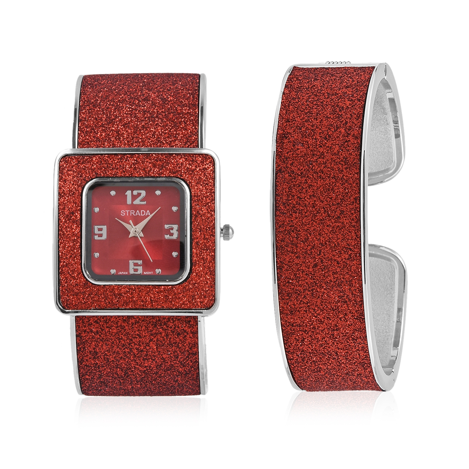 f92cfd1ce STRADA Red Stardust Japanese Movement Cuff Bracelet Watch and Cuff Bracelet  with Stainless Steel Back in Silvertone | Shop LC