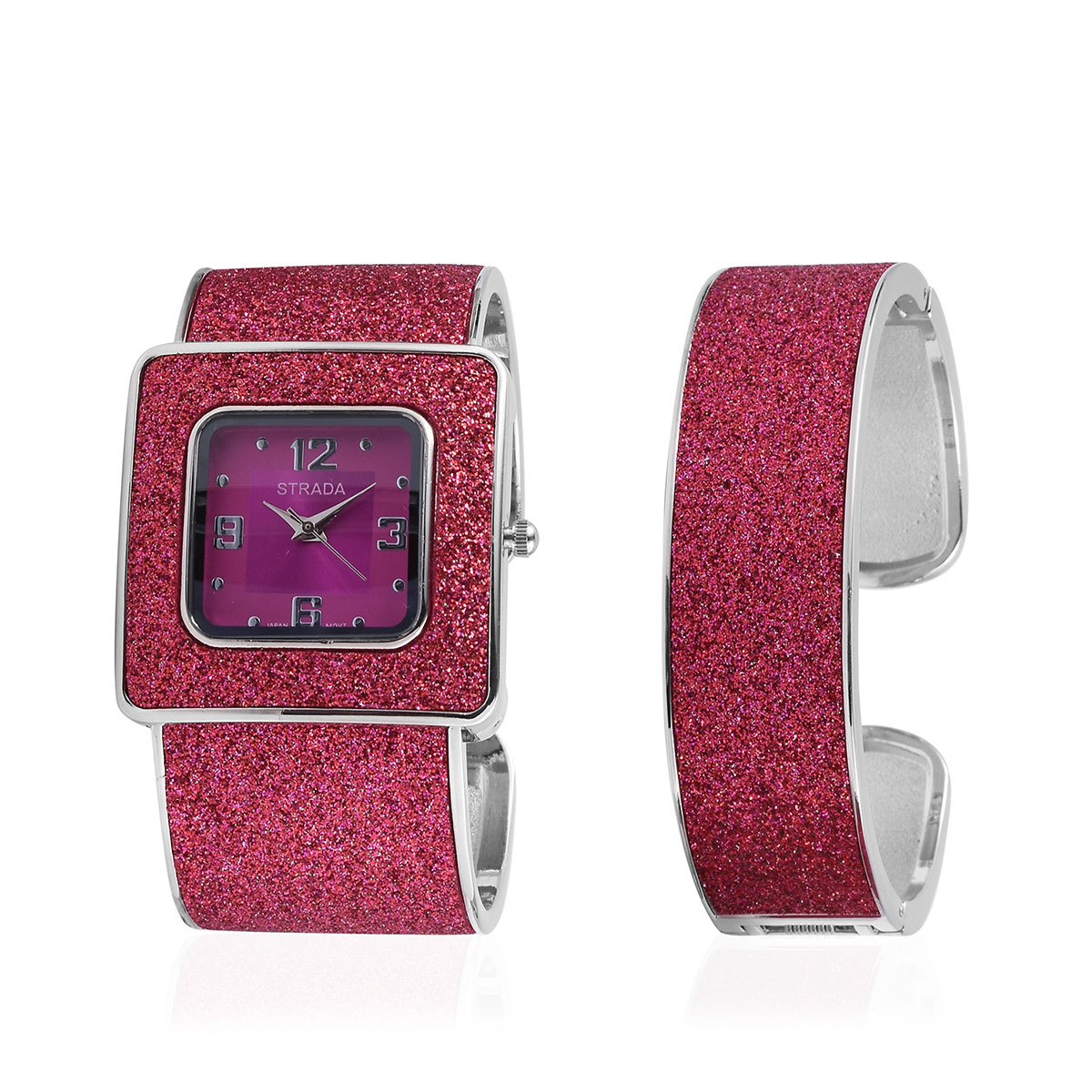 1e0c24058 STRADA Fuchsia Stardust Japanese Movement Cuff Bracelet Watch and Cuff  Bracelet with Stainless Steel Back in Silvertone