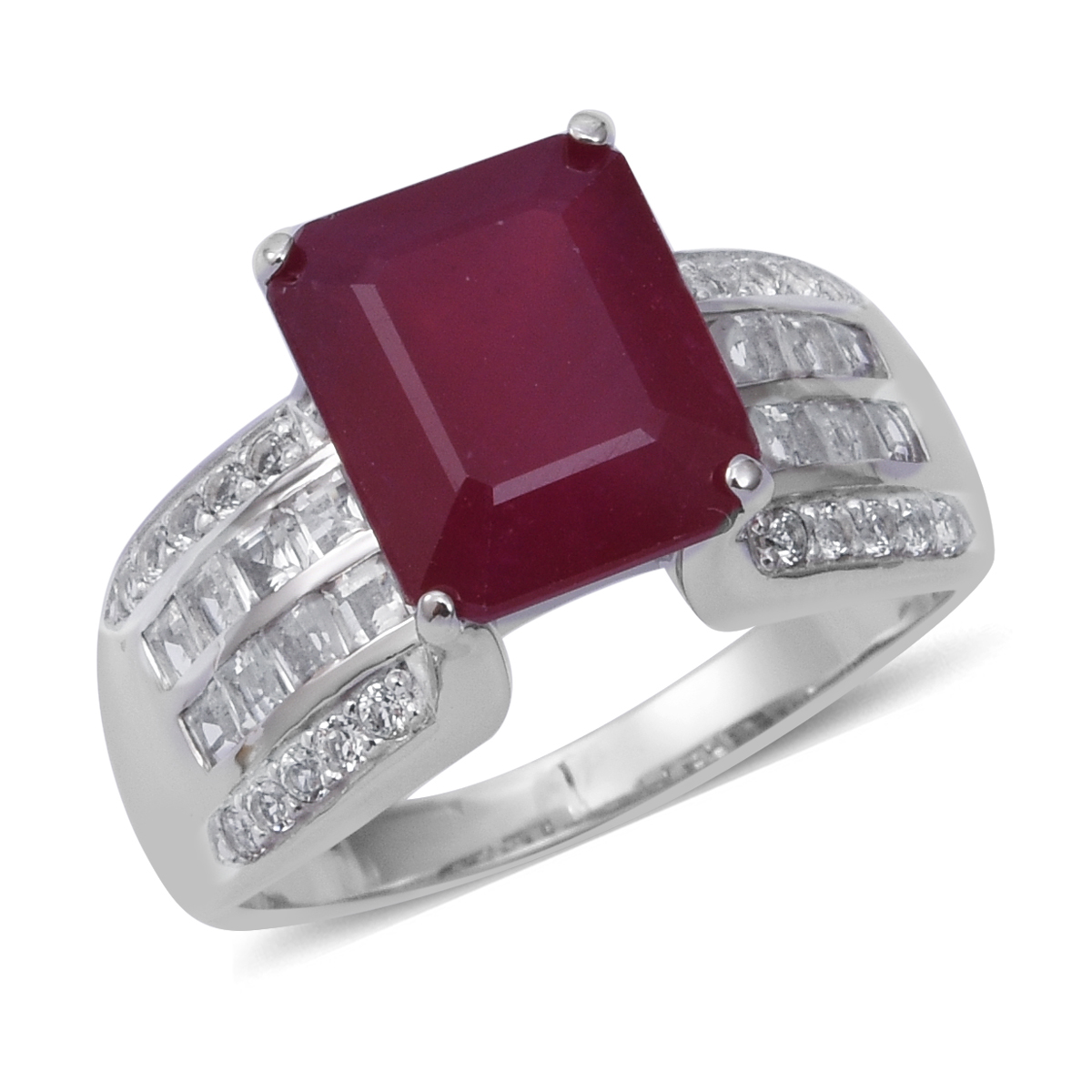 Niassa Ruby, White Topaz Bridge Ring in Platinum Over Sterling Silver (Size 9.0) 10.68 ctw
